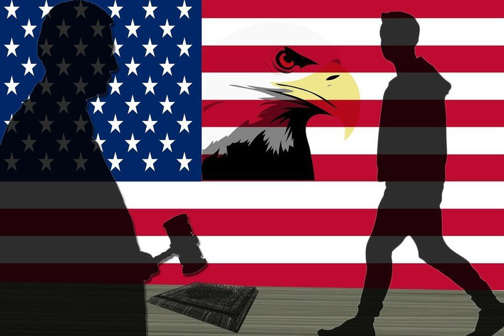 Amerikanische Flagge mit Richter